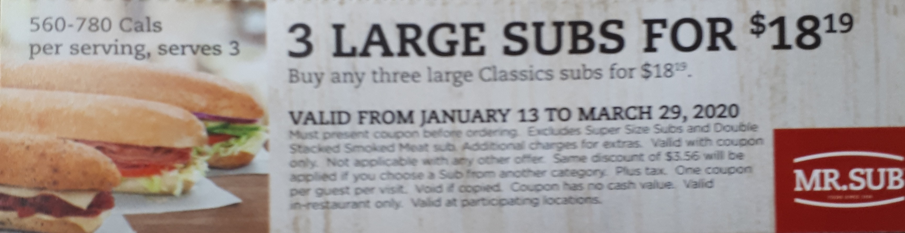 3 Large Subs for $18.19