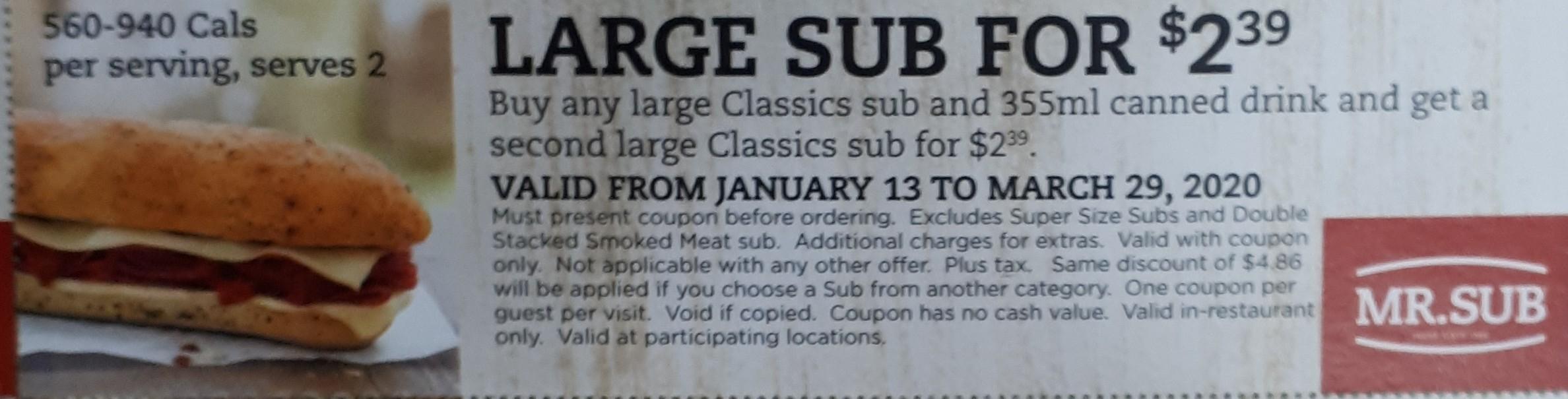 Large Sub $2.39